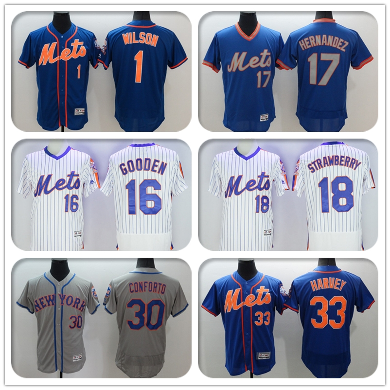 2016 New Fabric Flexbase Version #31 Mike Piazza #33 Matt Harvey Jersey Color Blue White Gray Throwback Jerseys(China (Mainland))