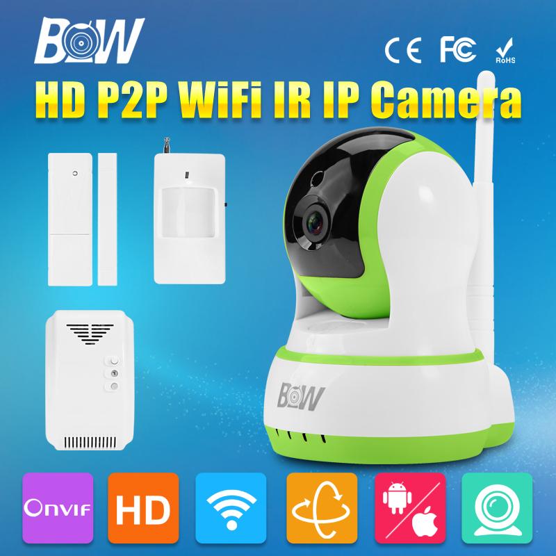 Фотография P/T HD IP Camera WiFi 720P 3.6mm Endoscope Lens Security IR-Cut P2P ONVIF with Door & Infrared Motion Sensor and Gas Detector