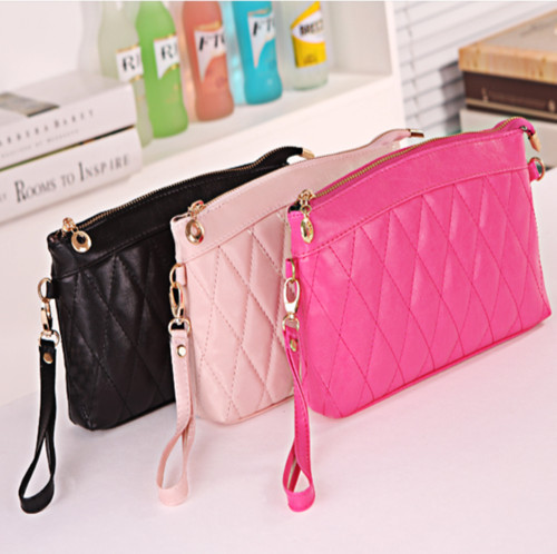 2015 Real Special Offer Pu Day Clutches Silk Single Chains Casual Handbag Ladies Candy Color Korean Lingge Crown Zipper Hand Bag(China (Mainland))