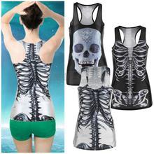 1pcs 3D Summer Sexy Womens vintage Printed Skeleton Skull Tank Tops Gothic Punk Clubwear Punk T-Shirt(China (Mainland))