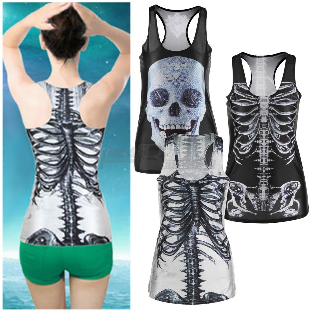 1 unids 3D Verano Sexy Mujeres vintage Impreso Skeleton Skull Tank Tops Punky Gótico Clubwear Punk T-Shirt(China (Mainland))