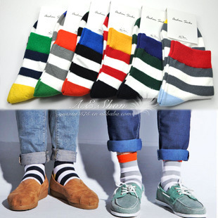 6 pairs/lot free shipping brand Socks men new wide stripes of color socks meia men's socks male Colorful Series meias masculinas(China (Mainland))