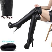 BONJOMARISA Plus Größe 32-46 Dame Sexy Über Knie Oberschenkel Hohe Stiefel Frauen Herbst Mode Dünne High Heels Plattform frauen Schuhe Frau(China)