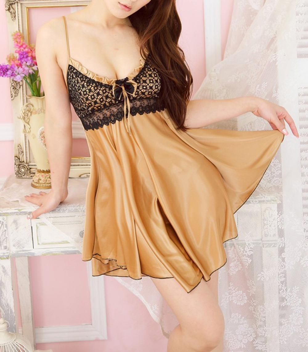 Sexy lingerie women lace sling big size ice silk pajamas coffee sexy dress(China (Mainland))