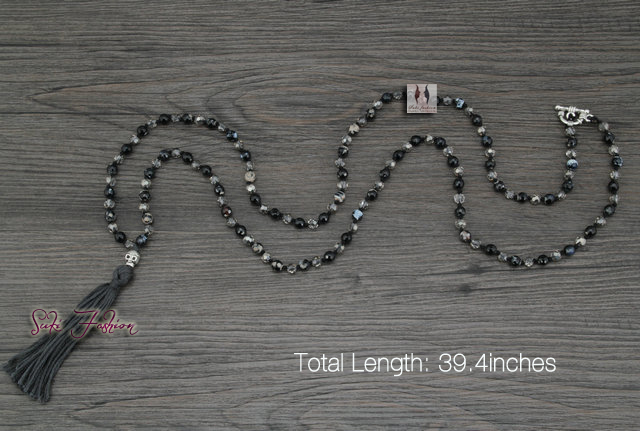 Exclusive Handmade Agate with Skull Tassel Long Bead Necklace Classic Natural Stones Necklace for Women Onyx Jewelry(China (Mainland))