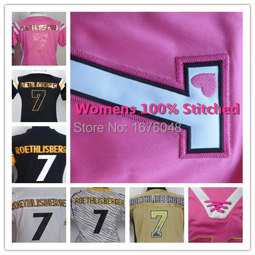 2015 #7 Ben Roethlisberger womens jersey,pink elite ladies Football steelers woman jerseys Stitched Authentic Embroidery S-XXL(China (Mainland))