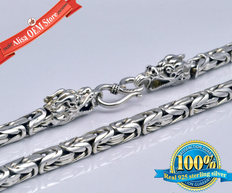 990 Sterling Silver dragon head chain men necklace men jewelry 100% Pure Silver necklace Thai silver statement necklace  N09
