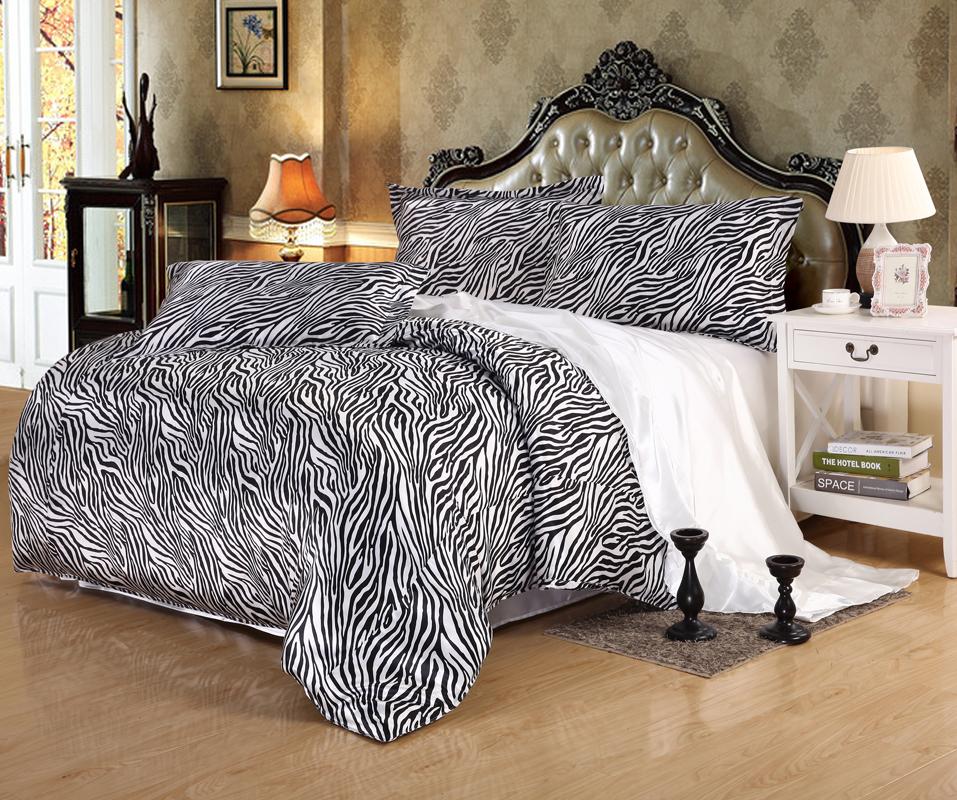 Silk leopard print bedding promotion shop for promotional for Blue zebra print bedroom ideas