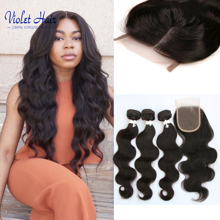 Peruvian Virgin Hair Body Wave With Closure 3 Peruvian Bundles With Closure 7a Unprocessed Peruvian Virgin Hiar with 4*4 closure