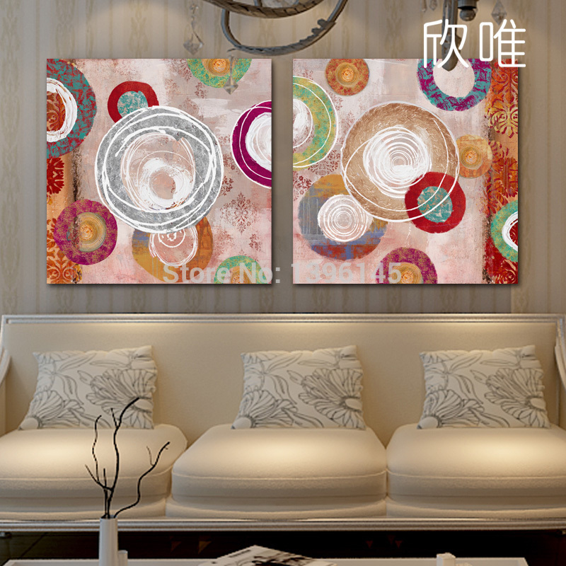 100% Hand Paitned Free Shipping Circle Canvas Abstract Oil Painting Picture On Canvas 2pcs/set(China (Mainland))