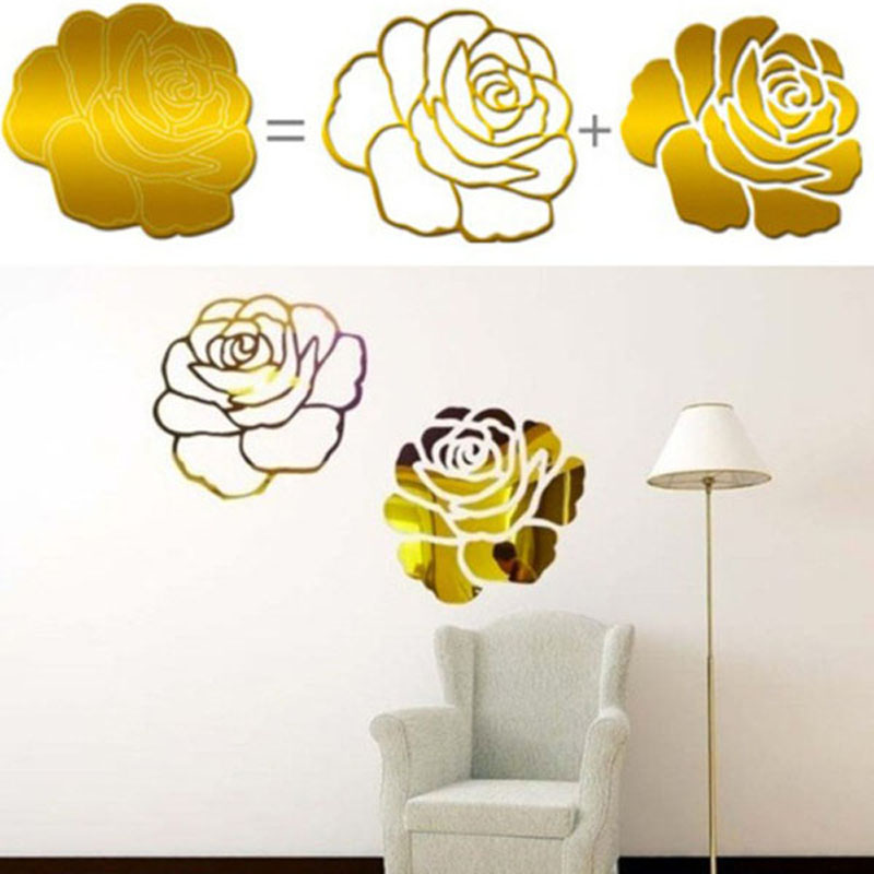 Removable 3D Acrylic Mirror Big Rose Flowers Pattern Living Room Wall Stickers Home Decoration Bed Room Wall Sticker VBD50 P53(China (Mainland))