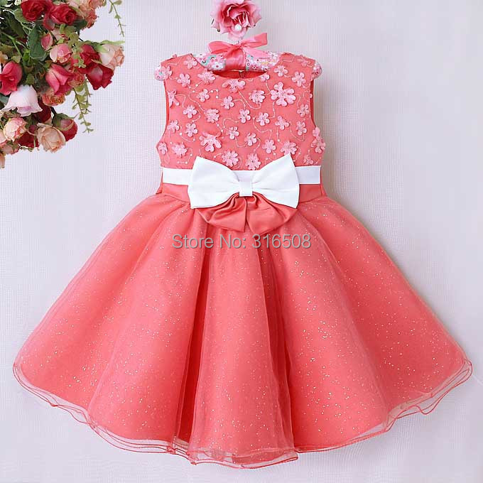 Free Shipping DHL 12pcs Wholesale Princess Girl Wedding Dress Party Dresses With Bow Grace Children Wear Kids Clothes Watermelon<br><br>Aliexpress