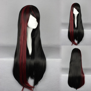 Black Mixed Wine Red Charming Oblique Fringe Lolita Wig