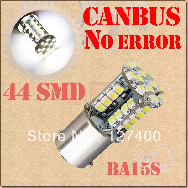 2pcs 1156 BA15S P21W 44 SMD Pure White CANBUS OBC No Error Signal Car 44 LED Light Bulb