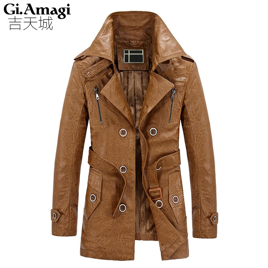 Плюс бархат ПУ кожа Британский Тонкий двойной брестед мужская с длинным пальто шанца Европа плащ куртка мужчины пальто траншеи