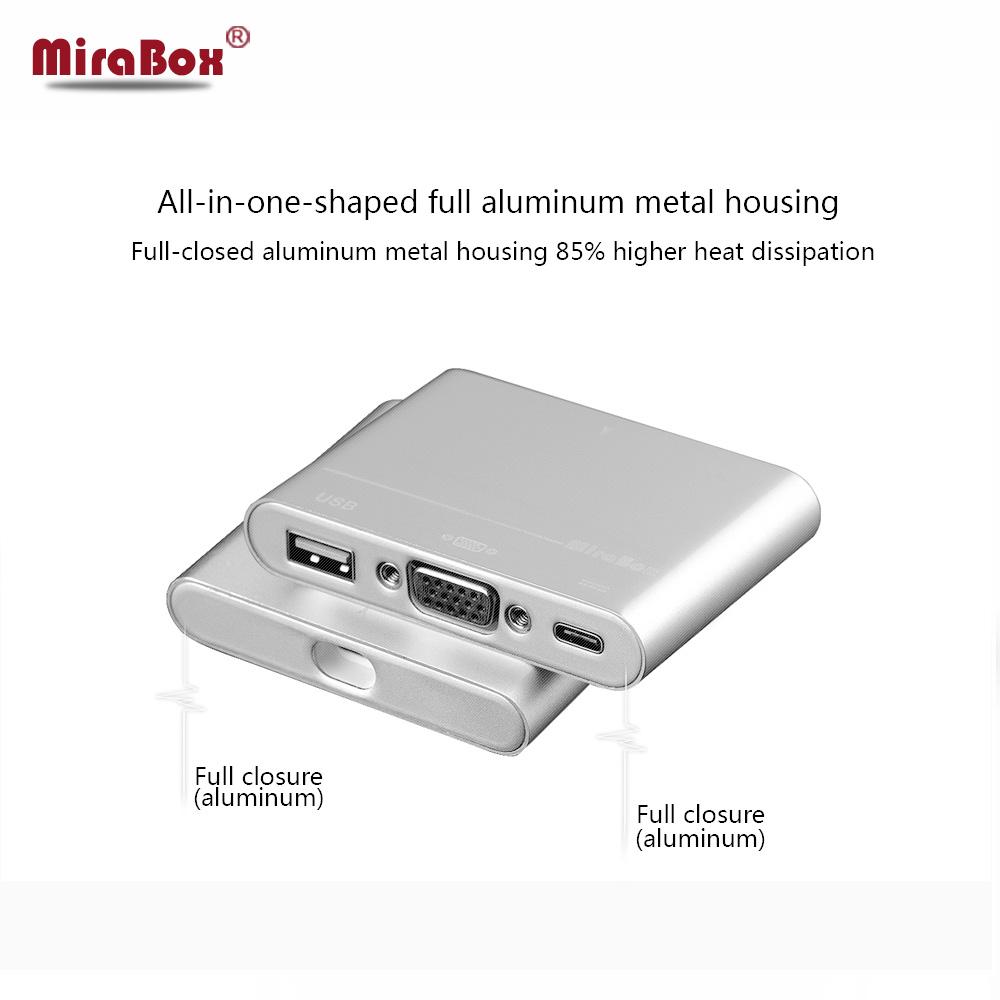 MiraBox Multi Function USB3.1 Type C to VGA Converter 3 Port USB Adapter USB3.0 for 12inch Macbook Chromebook(China (Mainland))