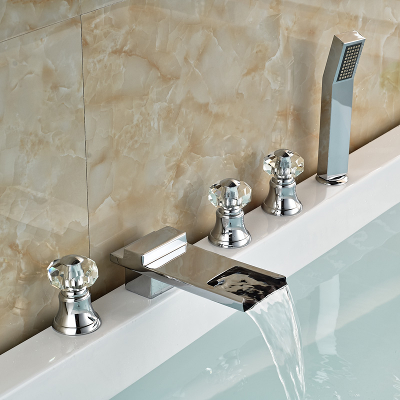 Фотография Chrome Finished Bathroom Waterfall Bathtub Faucet With ABS Handheld Shower Deck Mount