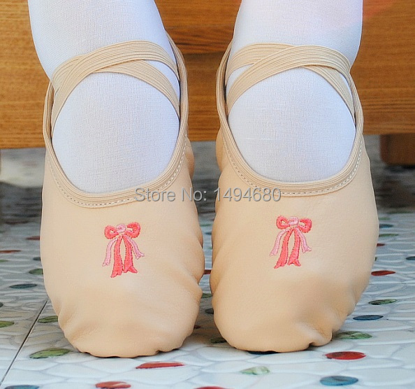 2015 NEW children high quality PU leather dance shoes women soft outsole ballet dance shoes female beige ballet shoes(China (Mainland))