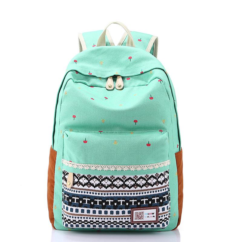 Canvas Backpacks For Teen Girls School Bookbag Laptop Backpack Girl School Bag
