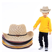 2016 Fashion Kids Boy Girl Summer Beach Sun Hat Caps Beads Rope Decorations Cowboy Straw Hats for Children (China (Mainland))