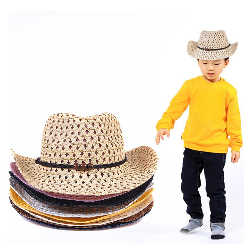2016 Fashion Kids Boy Girl Summer Beach Sun Hat Caps Beads Rope Decorations Cowboy Straw Hats for Children(China (Mainland))