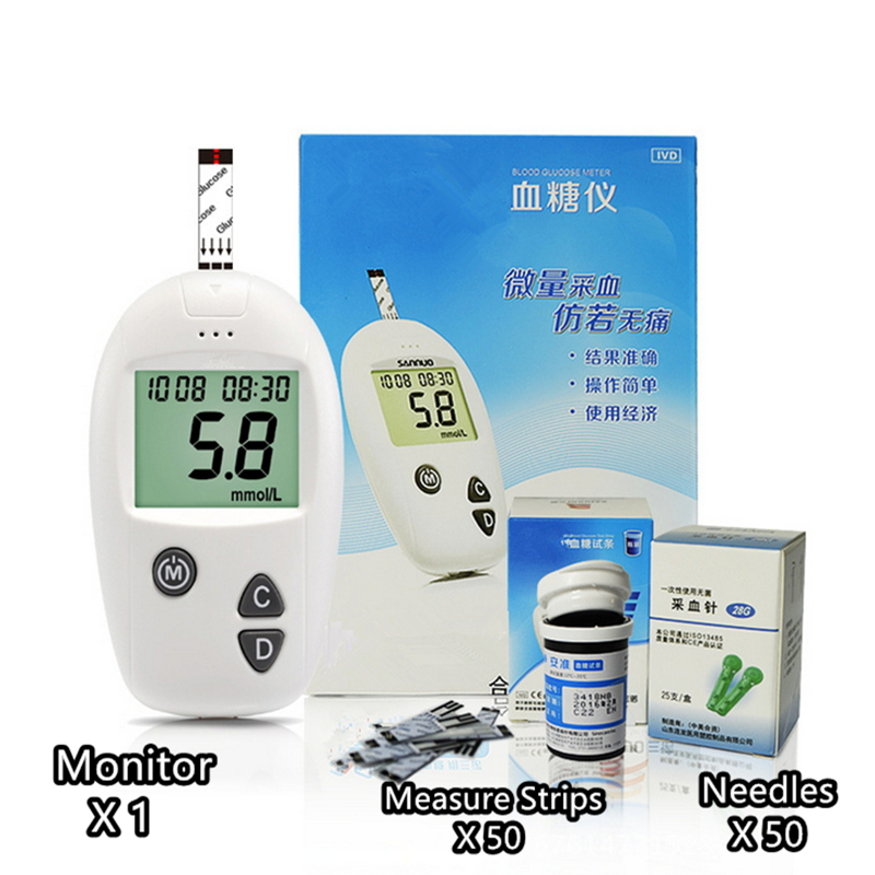 Diabetic Household Blood Glucose Monitor set 50pcs strips 50pcs Needles Lancets Blood Sugar Tester Detection Meters glucometer