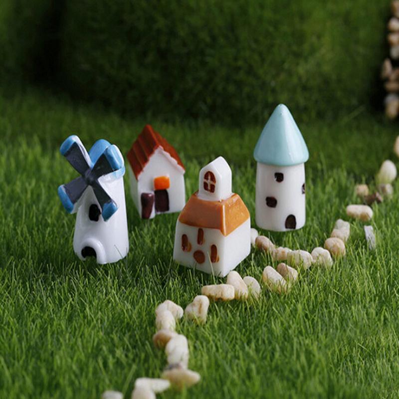 2PCS cute resin crafts windmill church castle Hut house fairy garden miniatures Micro landscape decor bonsai for home decor(China (Mainland))