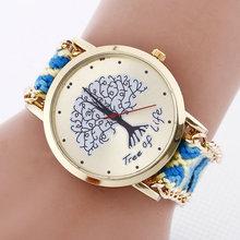 Nueva llegada caliente de la venta del relogio feminino lujo Vintage tejido a mano la correa de reloj de cuarzo ocasional mujeres relojes patrón del árbol