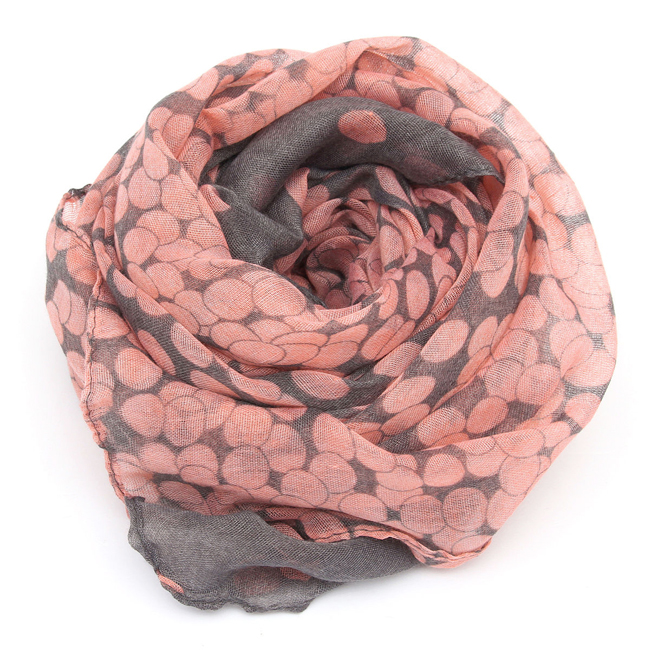 2016 HOT SALE Women Lady Spring Autumn Warm Soft Long Voile Neck Large Scarf Wrap Shawl Stole Pink Grey Dots Scarve Pashmina(China (Mainland))
