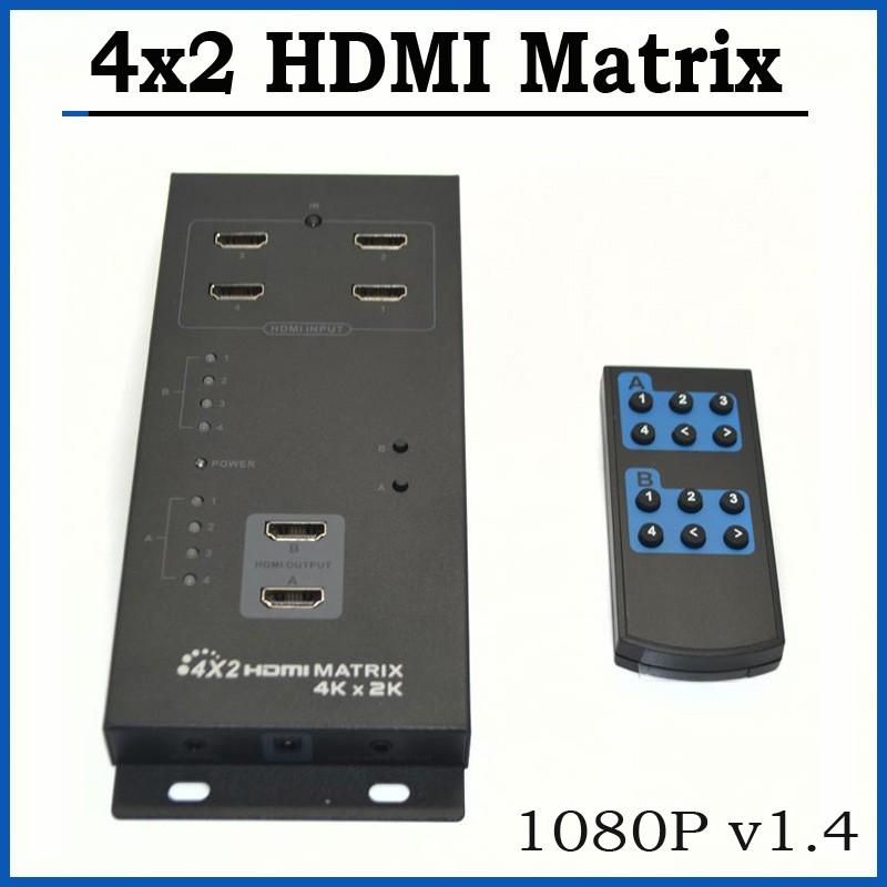 5pcs 4X2 HDMI Matrix Switch Splitter With Audio SPDIF Output 1080p 4K*2K HDMI Switcher IR Remote Control(China (Mainland))