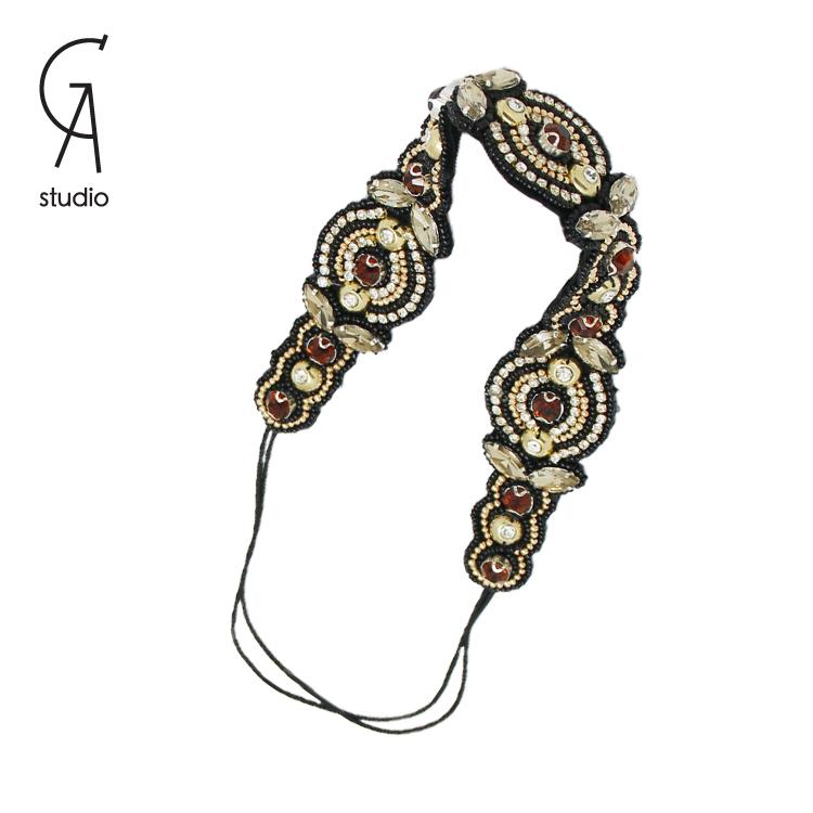 2015 trendy Crystal Rhinestone Elastic Headband beaded hair accessories elegant retro tiara for women 10pcs free shipping(China (Mainland))