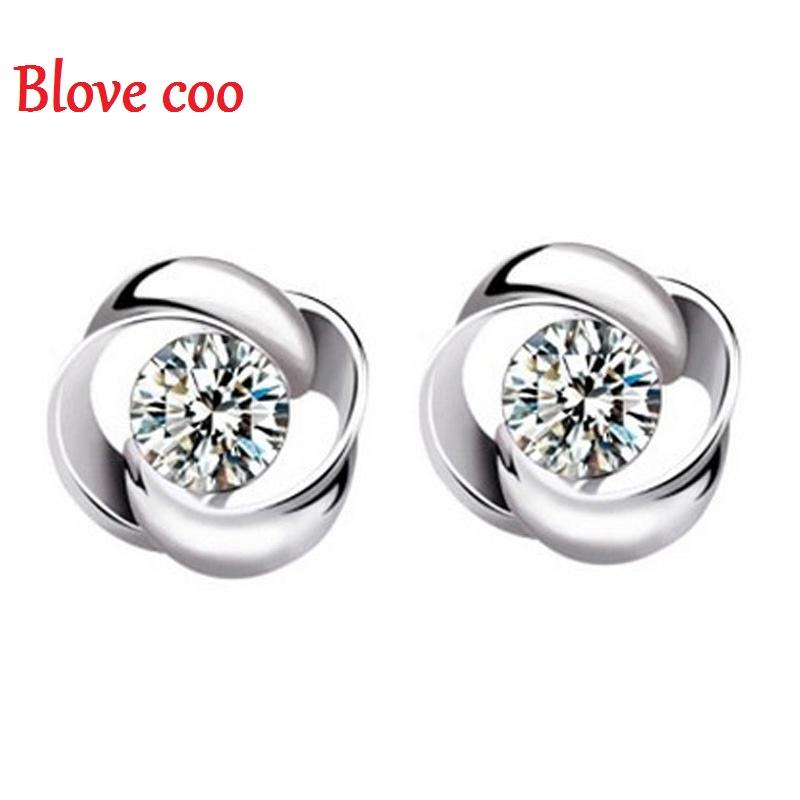 Stud Earrings Women 2016 New Luxury Crystal Rotation Love Design zircon CZ Diamond Rhinestone Female Jewelry Wholesale(China (Mainland))
