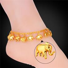 U7 Лето Ювелирные Изделия Ноги Браслет На Ноге Желтого Золота Гальваническим Оптовая Маленький Слон Ножной Браслет Браслеты Для Женщин A945(China (Mainland))