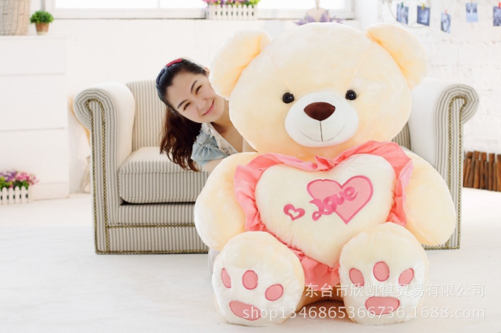larggest 120cm hugged love heart teddy bear plush toy hugging pillow surprised birthday gift w5449(China (Mainland))