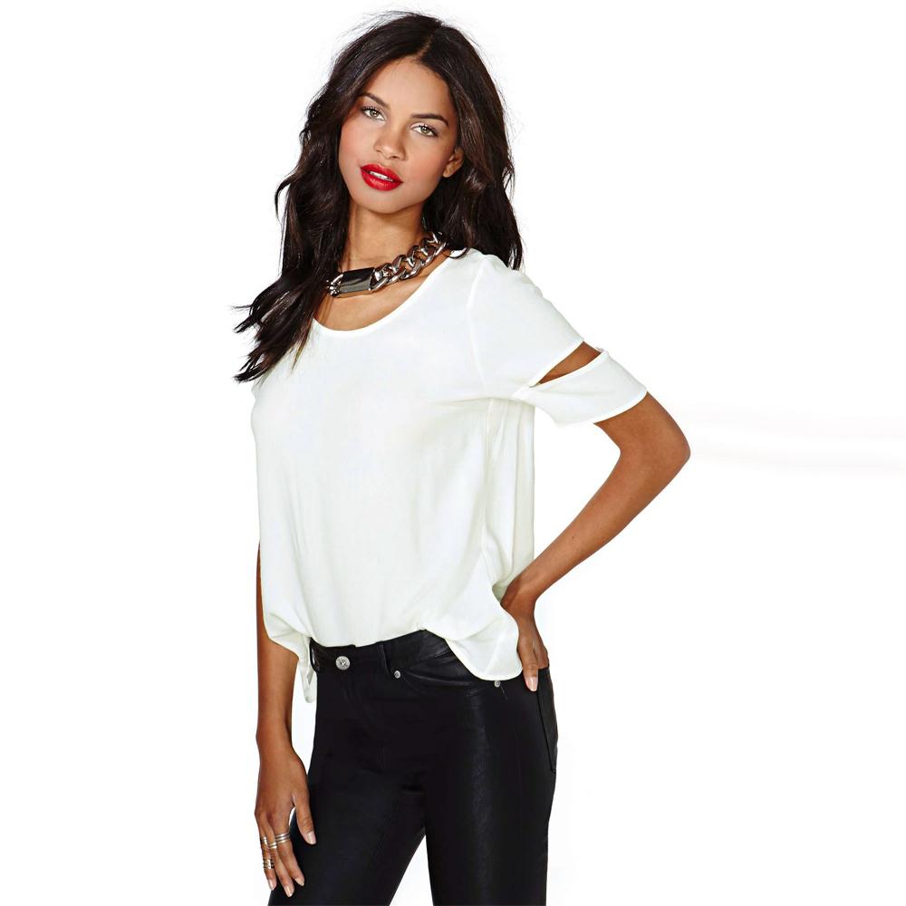 Fashion Women Chiffon Blouse t shirt tshirt Sexy Wrap Back Cutout Hollow out Short Sleeves O Neck Casual Tops White Wholesale(China (Mainland))