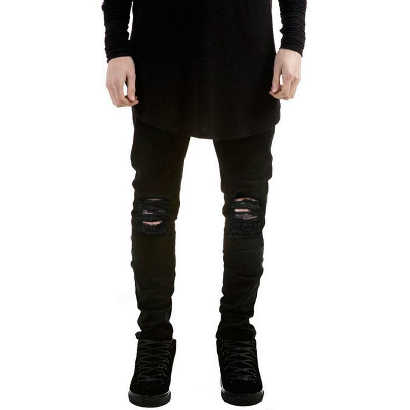 Swag Mens Designer Brand Black Jeans Skinny Ripped Destroyed Stretch ...