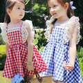 2016 summer new girls fly sleeve baby girl dresses princess dress kid s plaid dress elastic