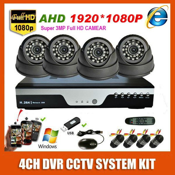 4 Channel 3MP Home Super HD 1920*1080P AHD Video Surveillance Indoor Mini White/Black Dome CCTV 4CH Security Camera System Kit(China (Mainland))