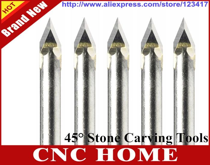 10 pcs 45 Angle Cutting Bits, Carbide Cutter, Stone Tools, CNC Router Tool Bits on Stone, Aluminum, Wood, Acryl for CNC Machine(China (Mainland))