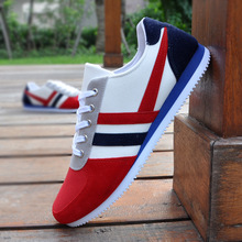 2016 New Spring Autumn Men Fashion Outdoor Casual Striped Canvas Shoes Male Low Help Lace-up Plus Size Shoes O574(China (Mainland))