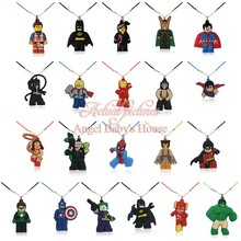 20PCS Legos Super Hero Spider Man Super Man Cartoon Chains Pendant Necklaces Rope Chain Necklace Party Gift Travel accessories(China (Mainland))