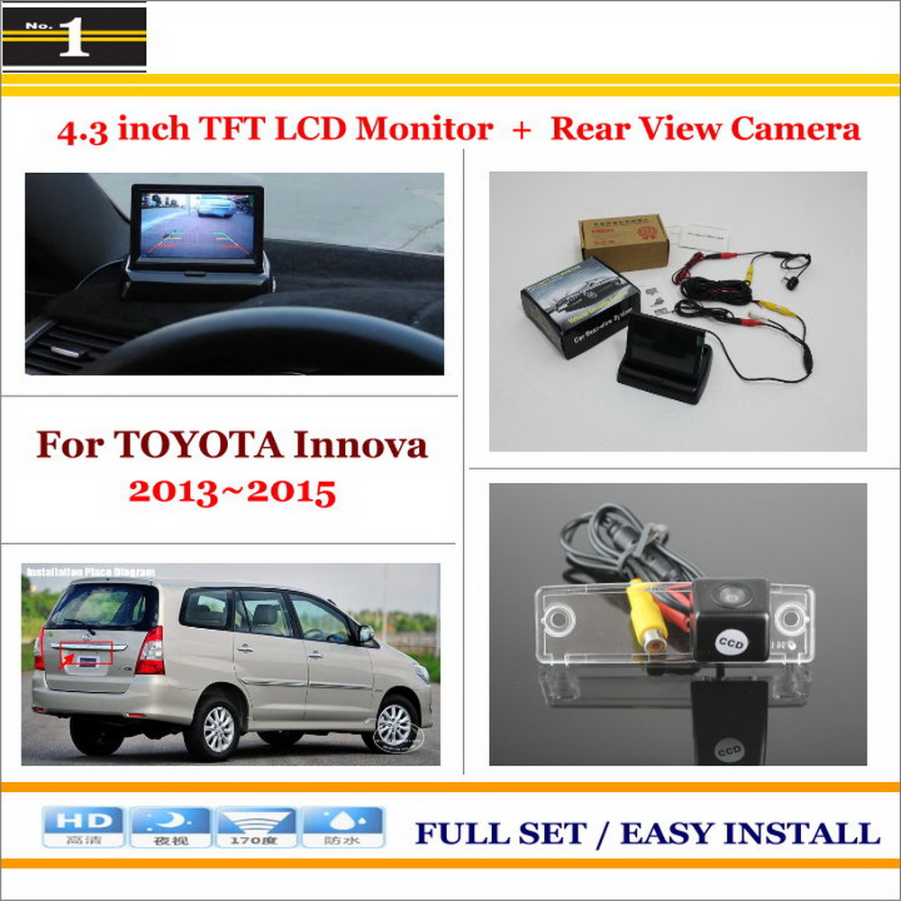Auto Rear View Camera Back Up + 4.3 LCD Monitor = 2 in 1 Parking Assistance System - For TOYOTA Innova 2013~2015<br>