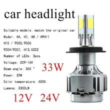 Buy hot sale 2 PCS Car Headlight Bulb COB LED 33W 3000LM 6000K Headlamp fog light 5202 9004 9007 9006 H4 H7 H8 H9 H11 H10 9005 H13 for $36.55 in AliExpress store