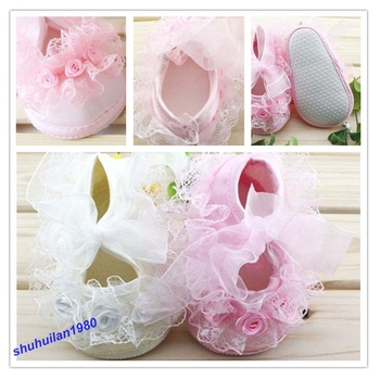Free Shipping Fashion Non-Slip Newborn Shoes Baby Toddler Shoes With Beautiful Lace 2 Colors