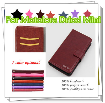 High Quality Flip Wallet Leather Case Cover For Motolora Driod Mini SmartPhone with stand&Card Holder,gift+Free Shipping(China (Mainland))