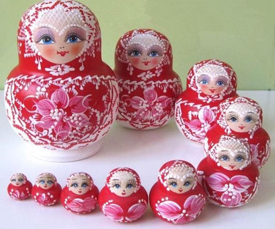 10pcs/Set Gift Wooden Russian Nesting Dolls Dried Basswood Collectibles toy Matryoshka Xmas Gift Matryoshka Doll Kids Gift(China (Mainland))