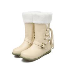 2017 Reales Botas Mujer Botas de Nieve de Gran Tamaño 34-52 Nueva Ronda Hebilla del dedo del pie Botas Para Las Mujeres Talones de La Manera Ocasionales Zapatos de Invierno Cálido 500(China (Mainland))
