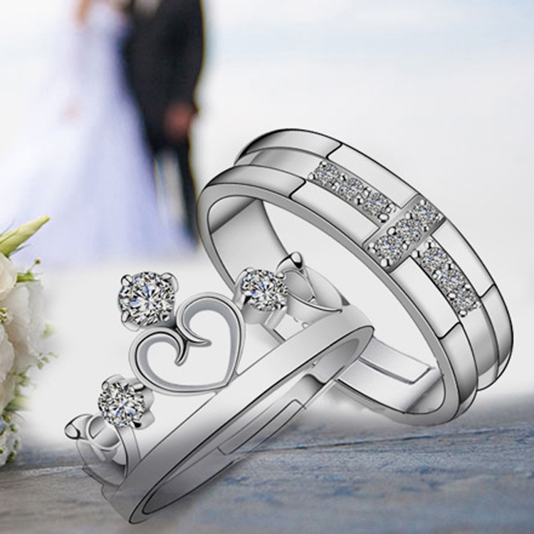 Fashion Jewelry 925 Sterling Silver Prince & Princess Imperial Crown Zircon Rhinestone Adjustable Lovers Couple Rings 0185(China (Mainland))
