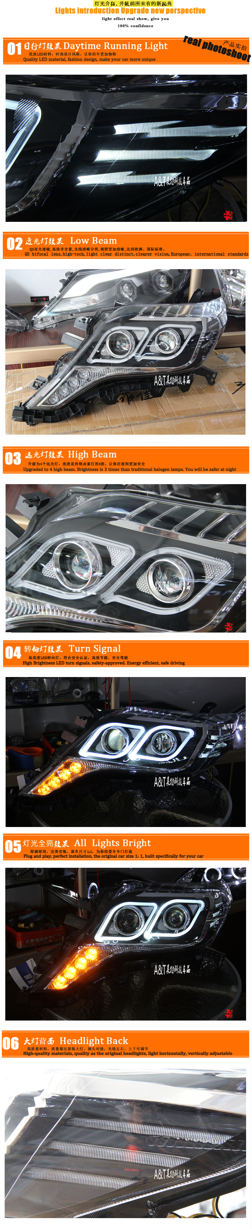 A&T Car Styling for Toyota Prado LED Headlights 2013-2014 New Prado DRL Lens Double Beam H7 HID Xenon Car LED Light