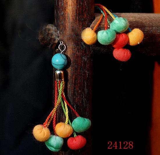 Wholesale Handmade Cloth Grape & Turquoise Pendant Earring 20pair Mixed Color Free Shipping